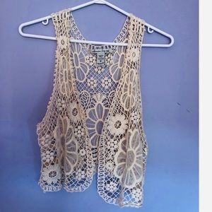 American Rag festive floral crochet vest
